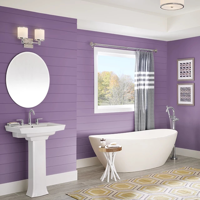 Bathroom painted in POETS PURPLE