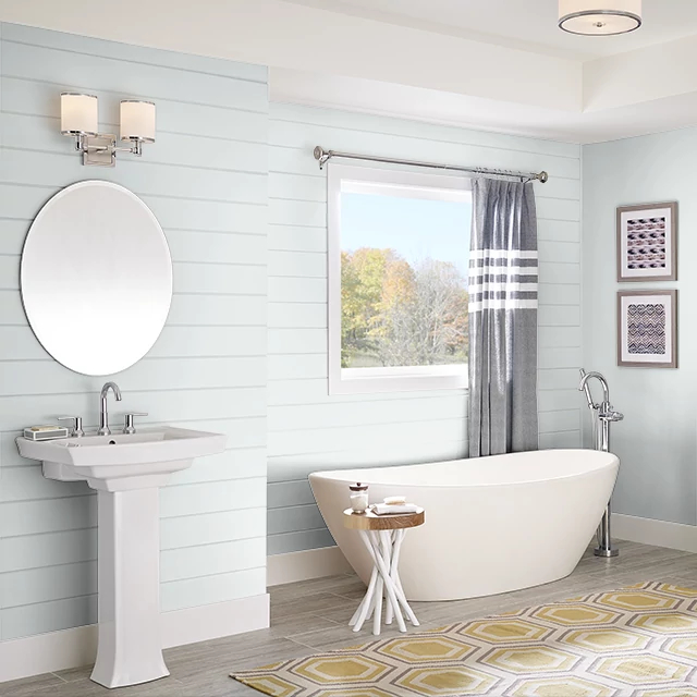 Bathroom painted in HINT OF BLUE