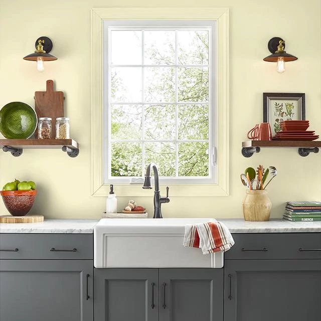 Kitchen painted in PALE LEMON