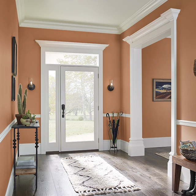 Foyer painted in GLAZED CARROT