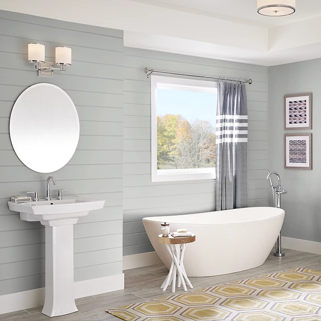 Bathroom painted in STREAMLINED SILVER