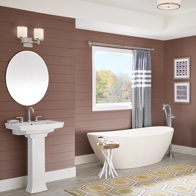 Bathroom painted in RICH LEATHER