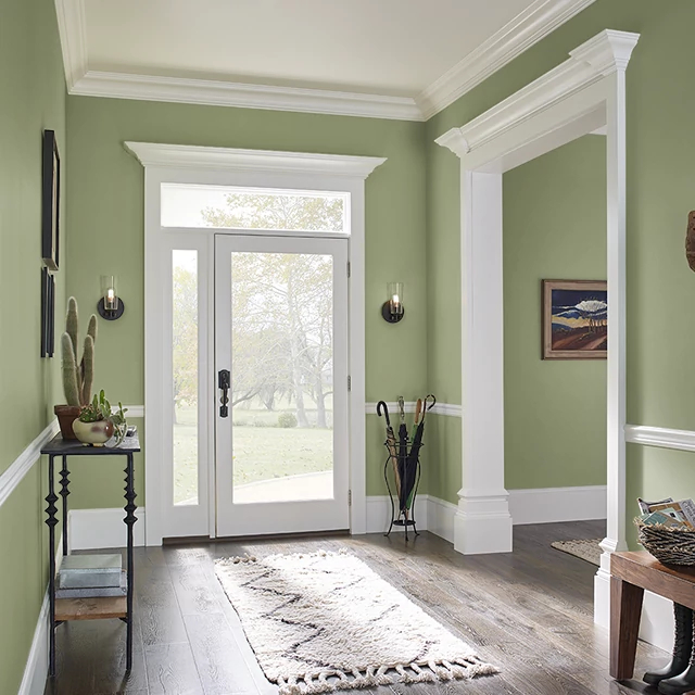 Foyer painted in AVOCADO MASK