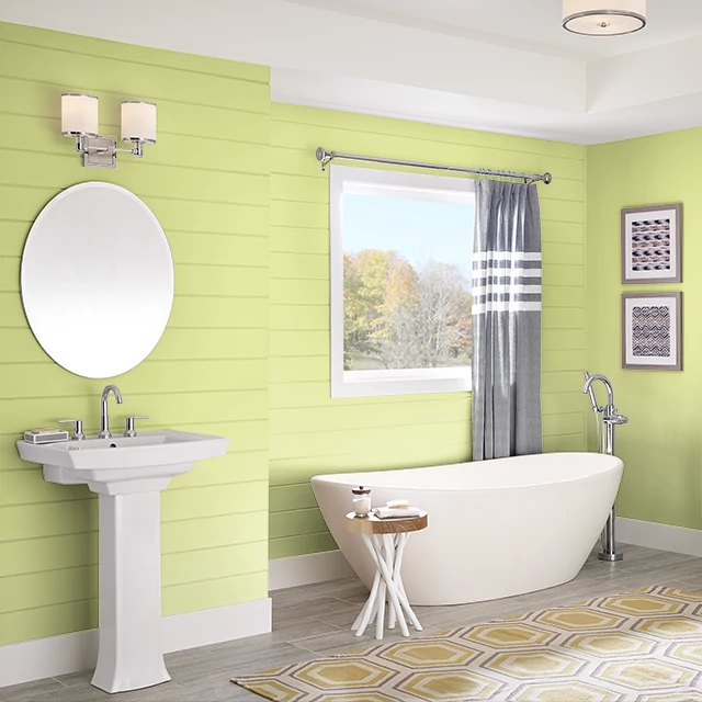 Bathroom painted in SASSY LIME
