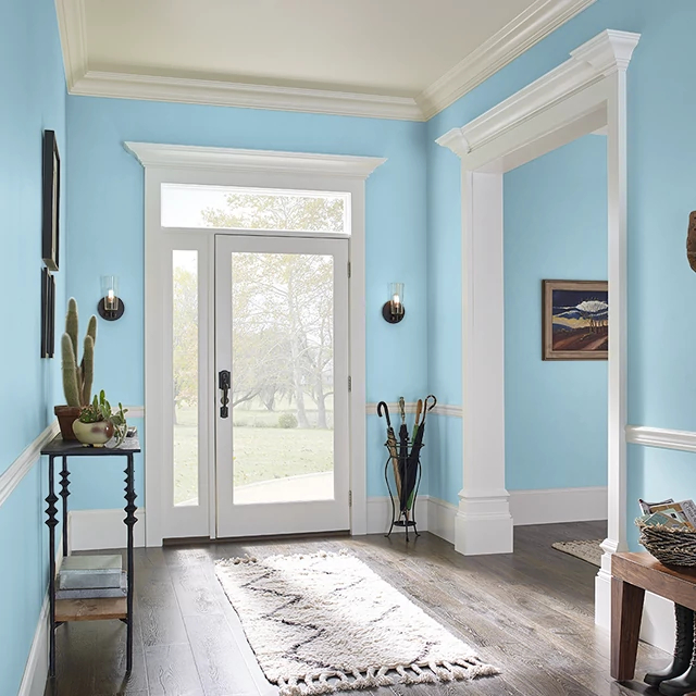 Foyer painted in BLUE BIRD OF PARADISE