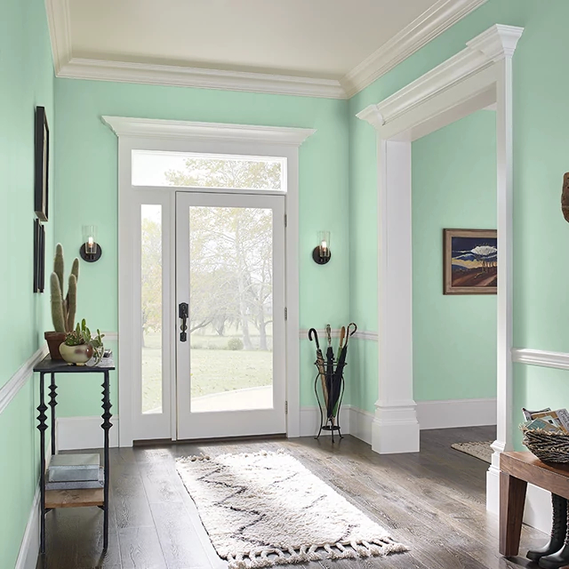 Foyer painted in GREEN ICING