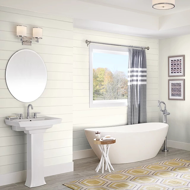 Bathroom painted in TEA SET WHITE