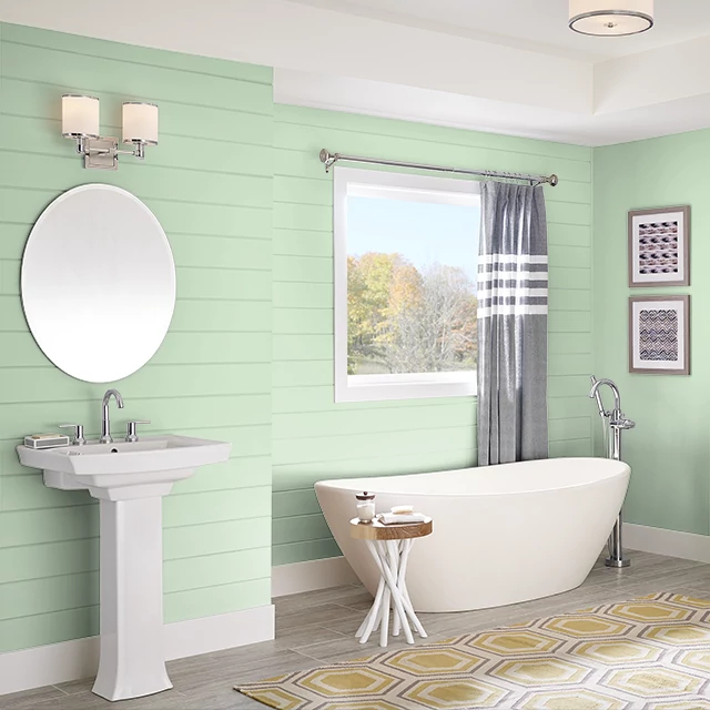Bathroom painted in BUDDING GREEN