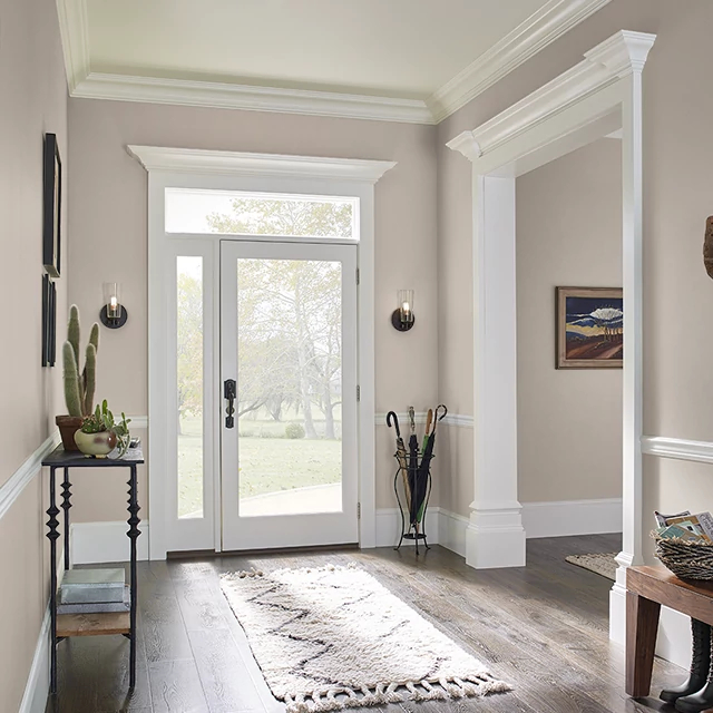 Foyer painted in STACCATO MAUVE