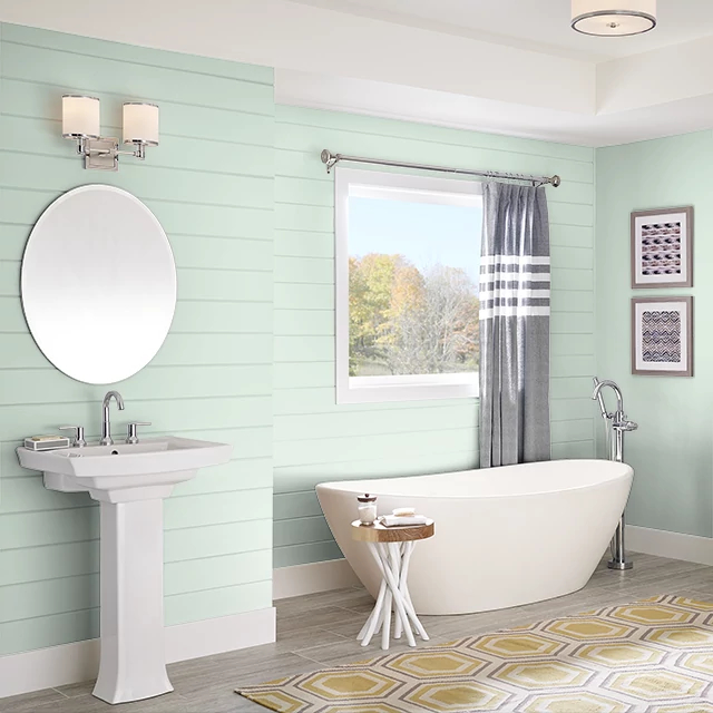 Bathroom painted in CREAMY MINT