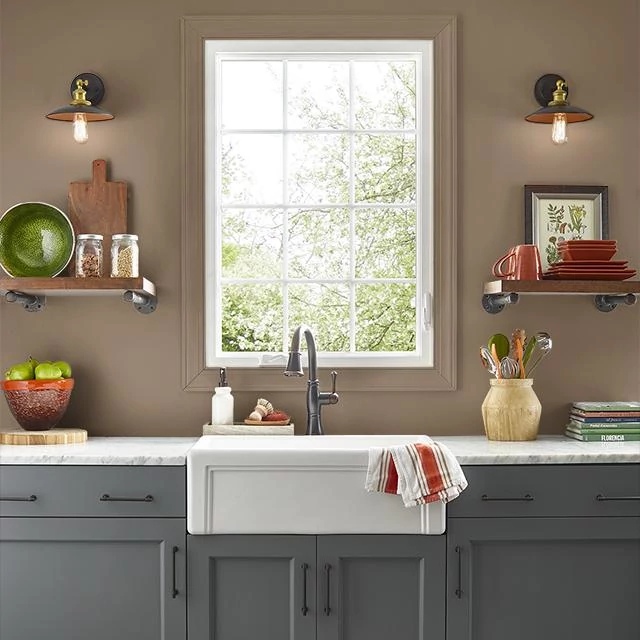 Kitchen painted in LEATHER SADDLE