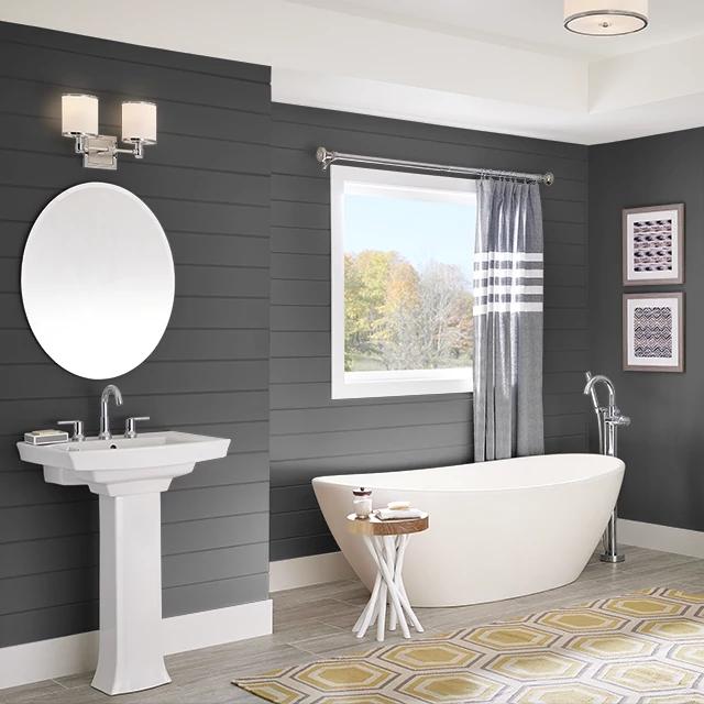 Bathroom painted in TRUE BLACK