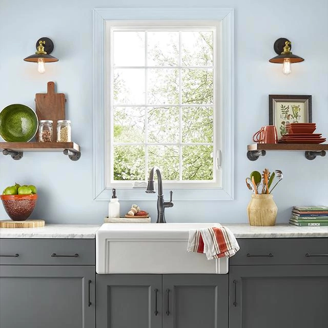 Kitchen painted in AIRY BLUE