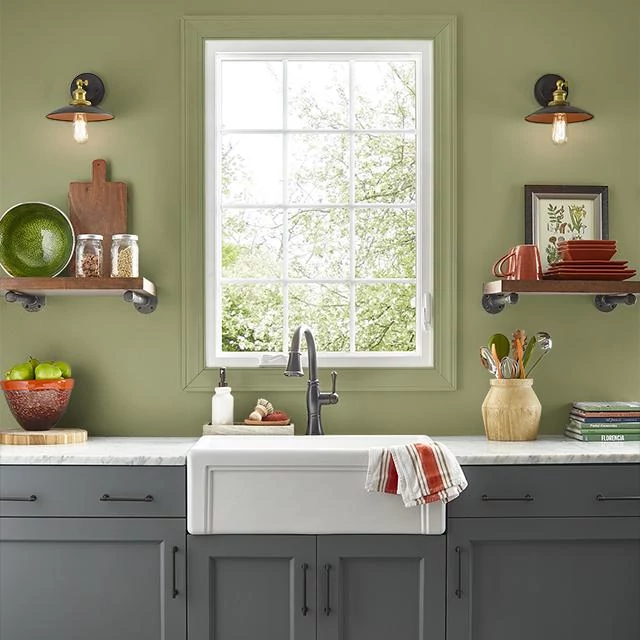 Kitchen painted in GROOVY GREEN