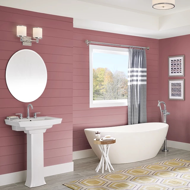 Bathroom painted in EARTHY RED