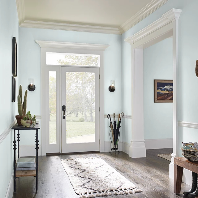 Foyer painted in MORNING HUSH