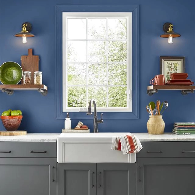 Kitchen painted in INDIGO
