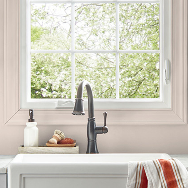 Kitchen painted in CONCH PINK