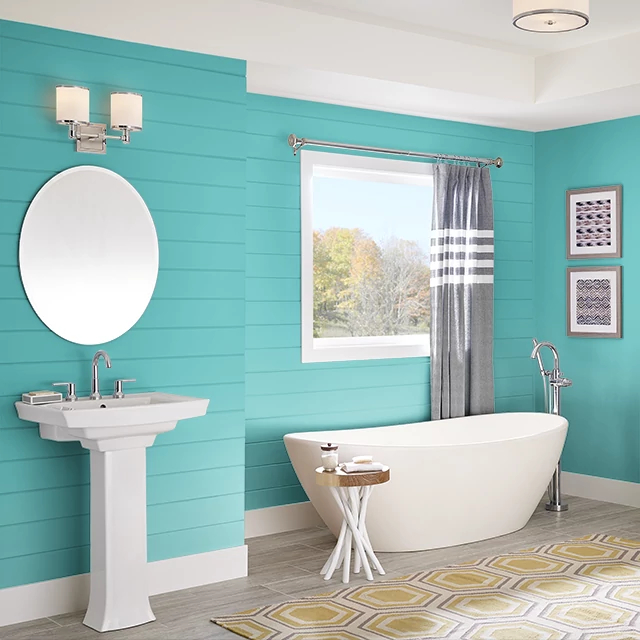 Bathroom painted in VIVID TURQUOISE