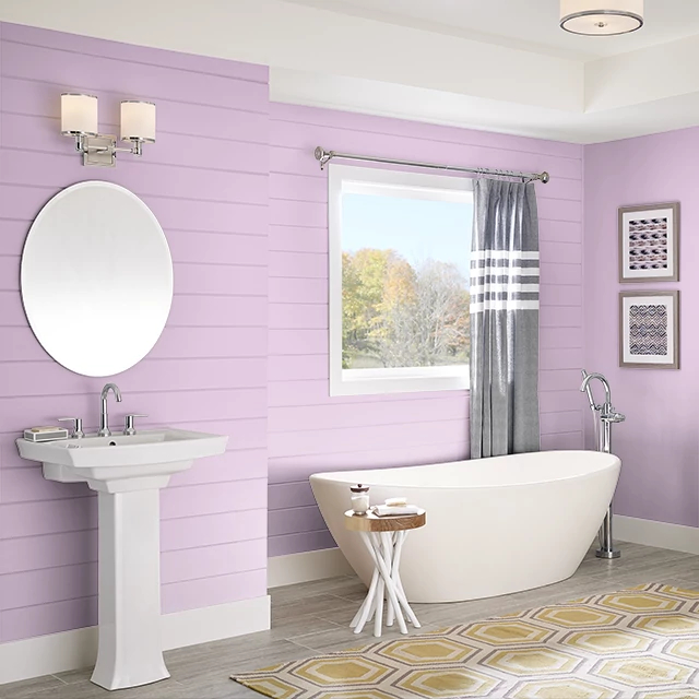 Bathroom painted in PINK TIARA