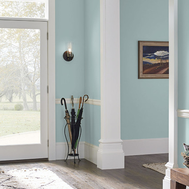 Foyer painted in ALMOST AQUA