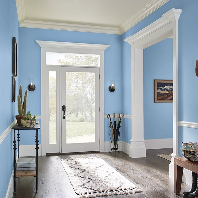 Foyer painted in BLUE HYDRANGEA