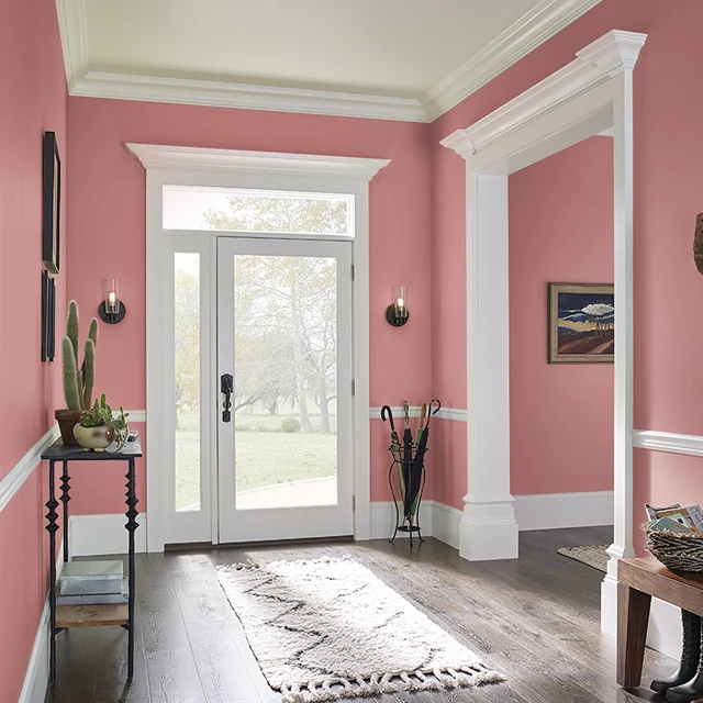 Foyer painted in WATERMELON CRUSH
