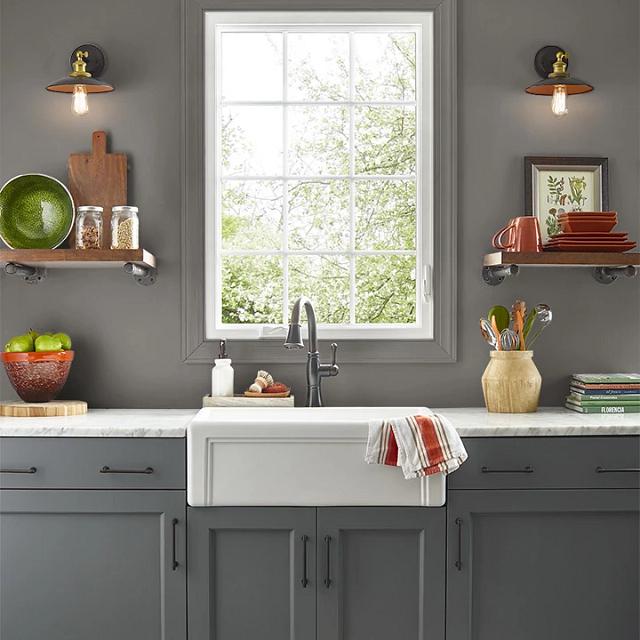 Kitchen painted in BINOCULARS
