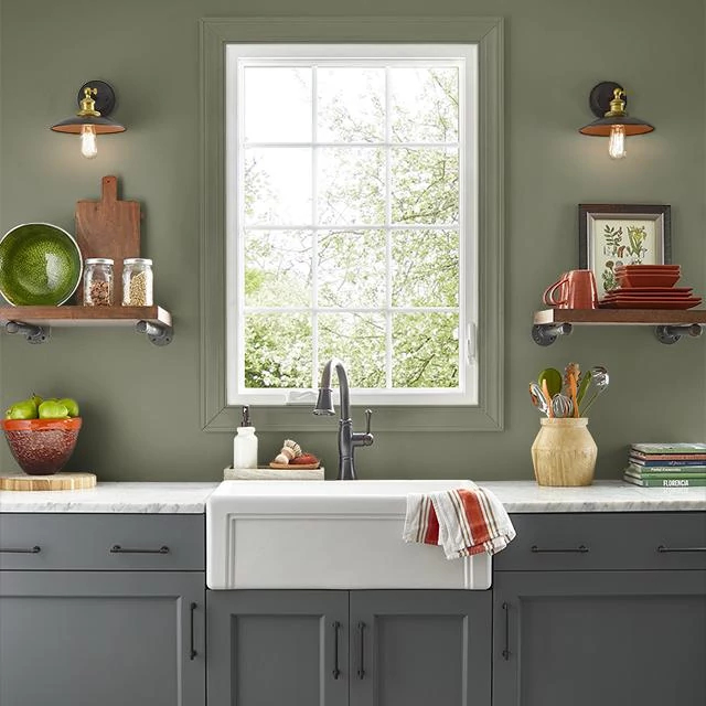 Kitchen painted in YEW HEDGE