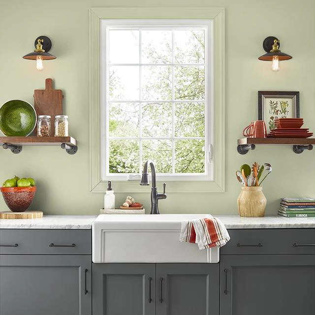 Kitchen painted in CALIFORNIA AVOCADO