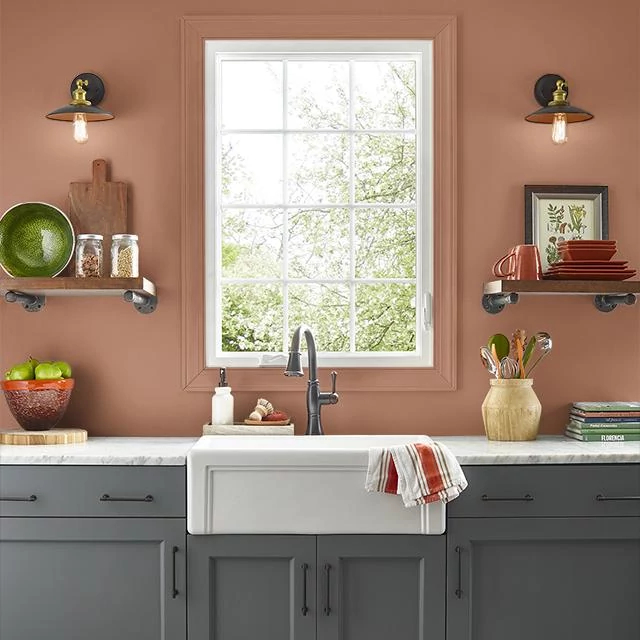 Kitchen painted in ROASTED PUMPKIN
