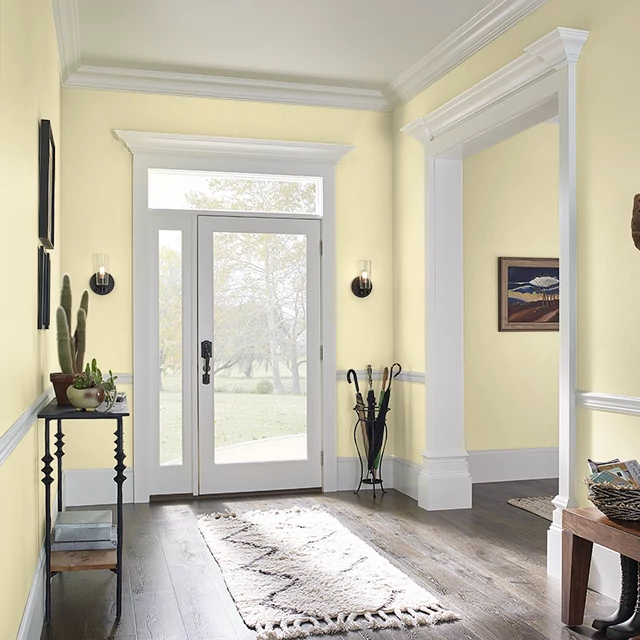 Foyer painted in YELLOW TAFFY