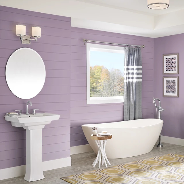 Bathroom painted in BERRY BLOOM