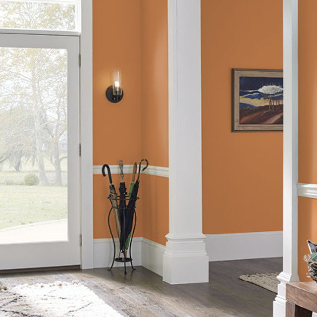 Foyer painted in BRIGHT MARIGOLD