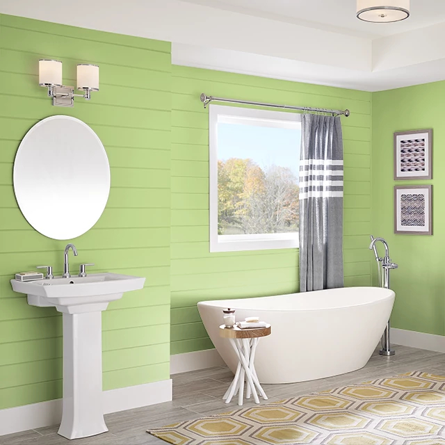 Bathroom painted in GREEN FLASH