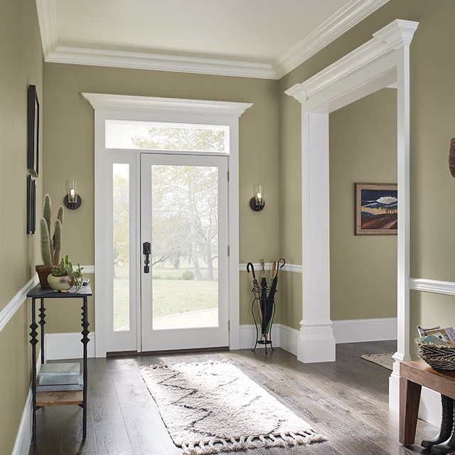 Foyer painted in WINTER GRASS