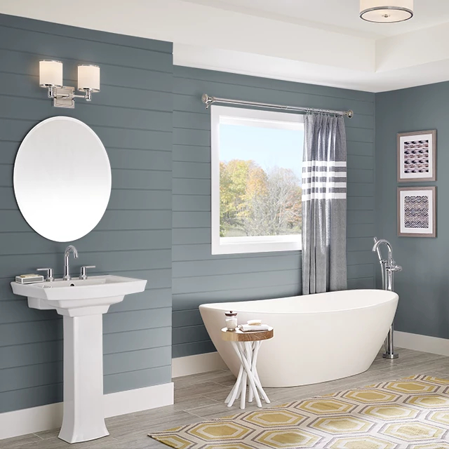 Bathroom painted in DEEP CHARCOAL