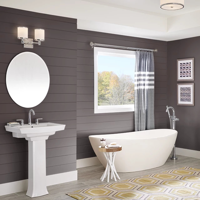 Bathroom painted in BLACK CHERRY