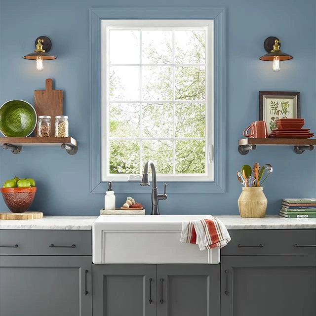 Kitchen painted in SWEDISH BLUE