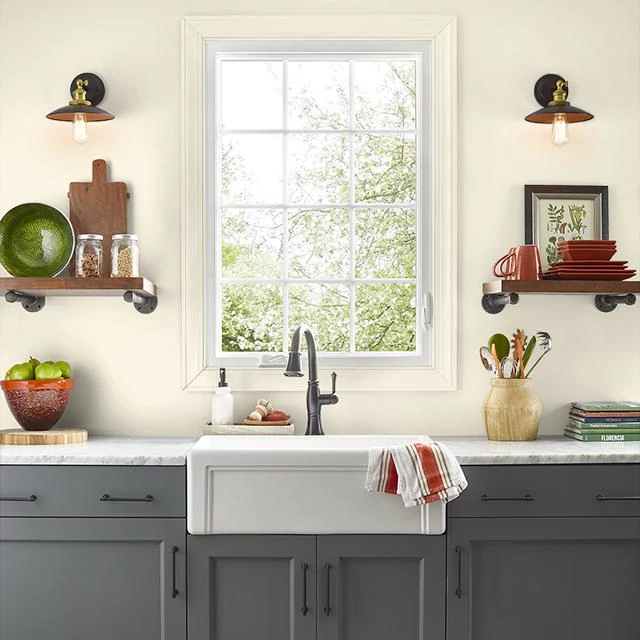 Kitchen painted in MILK AND HONEY