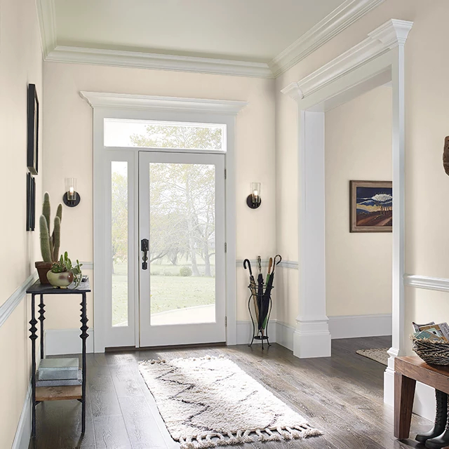 Foyer painted in BAKED CUSTARD
