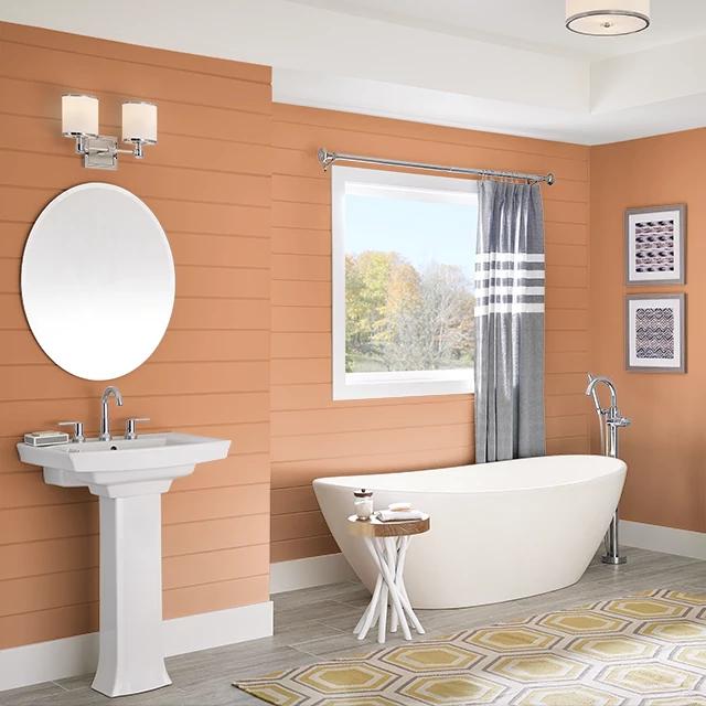 Bathroom painted in POM POM ORANGE