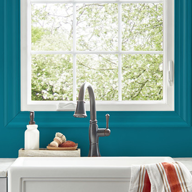 Kitchen painted in TRUE TEAL