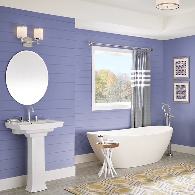 Bathroom painted in LAVENDER BLOSSOM