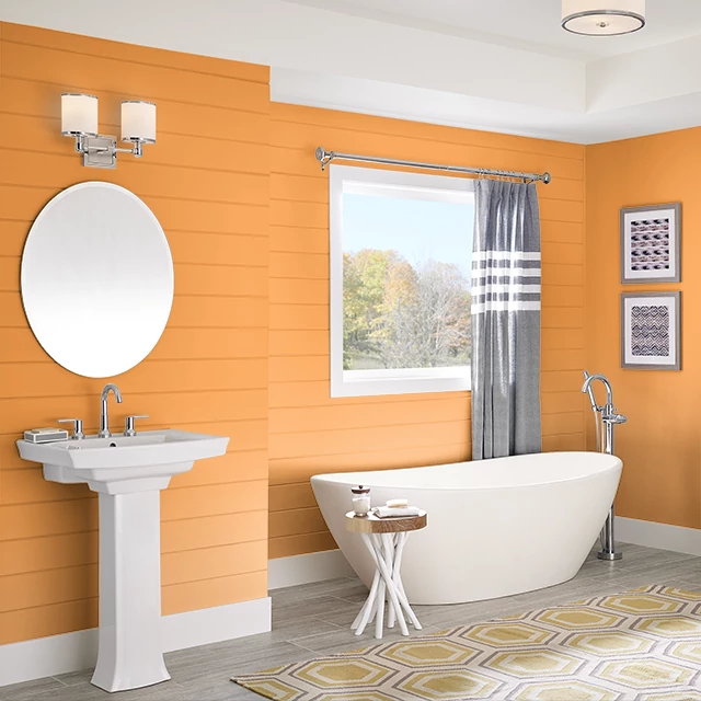 Bathroom painted in BITTERSWEET ORANGE