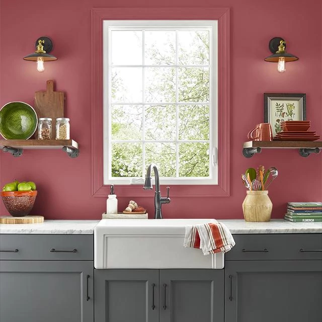 Kitchen painted in RADIANT RASPBERRY