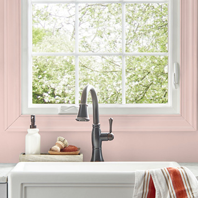 Kitchen painted in FLAPPER PINK