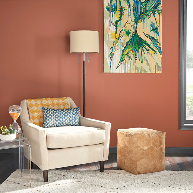 Living Room / Family Room painted in SPICY TWIST