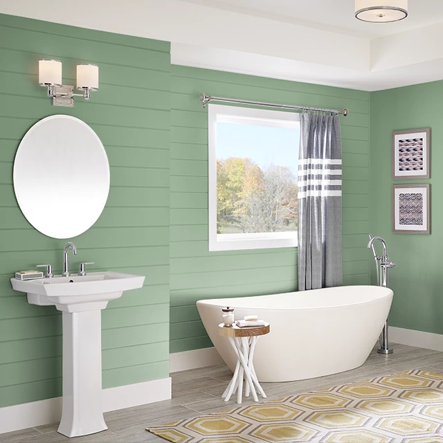 Bathroom painted in WILD THYME
