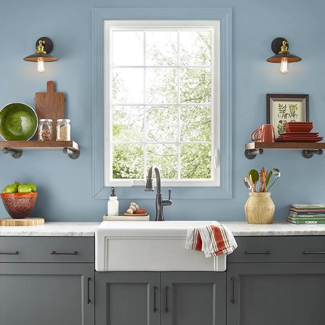 Kitchen painted in WINDING RIVER